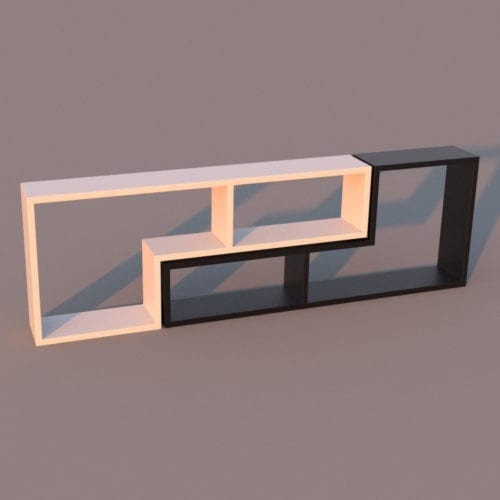 L-Shape Bookshelf with materials - Revit Family